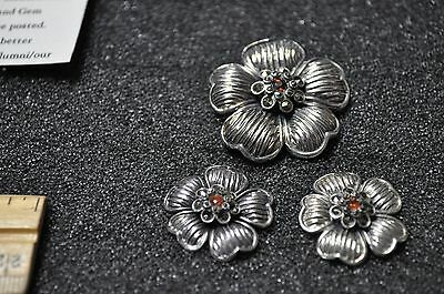 Marcasite pin and earring set vintage style awesome retired jeweler selling