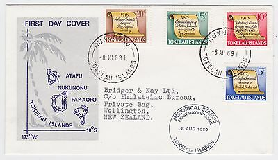 Tokelau Islands 1969 First Day Cover History Set Nukunono- Nz First Day Of Issue