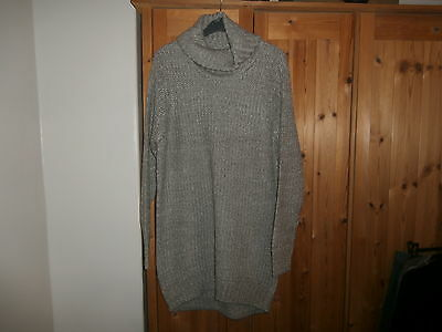 peacocks grey chunky long jumper dress size m uk 12/ 14 brand new