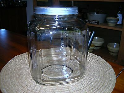 Vintage Glass Candy Store Counter Top Kitchen Canister Jar Ribbed Square
