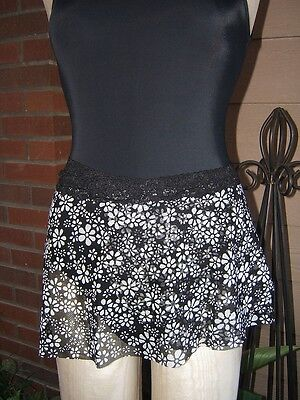 Stretch Wrap Dance Skirt in Black & White Daisy Pattern