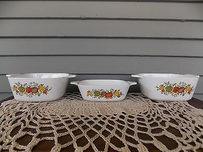 Lot of 3 Corning Ware Spice of Life Individual Casserole Dishes P-43-B & P-41-B