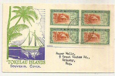 TOKELAU ISLANDS 1948 PICTORIAL FDC SG2 BLOCK x4 NUKUNONO- GB FIRST DAY OF ISSUE