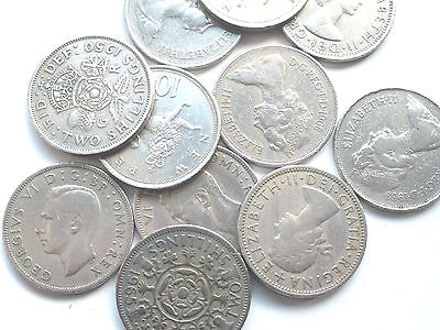 BUY 2 GET 1 FREE 1947 TO 1981 LARGE/OLD GEORGE VI/ELIZABETH II TWO SHILLING 10p