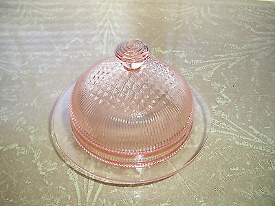 Pink Homespun Butter Dish & Cover by JEANNETTE  Glass