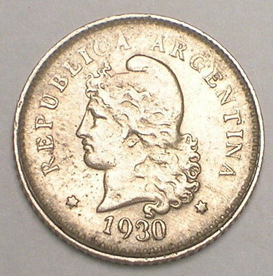 1930 Argentina Argentinian 10 Centavos Liberty Coin VF