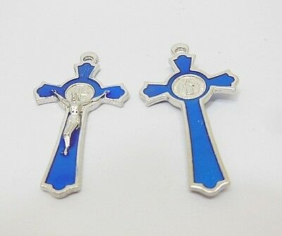 40X Enamel Blue Cross Pendant Jewellery Finding 5.1x2.8x0.4cm