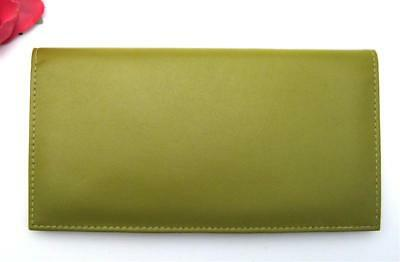 Ili Leather Checkbook Cover Credit Card & Pen Holder ~ Moss Green Leather Rfid