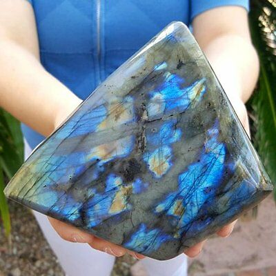 Large Decorative 5 1/2 Inch  Electric Blue To Gold Labradorite
