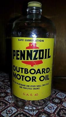 Very Nice VINTAGE GLASS PENNZOIL OUTBOARD MOTOR OIL BOTTLE PAINTED LABEL