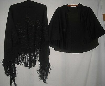 antique vintage Victorian mourning pieces  Capelet embroidered Shawl fringe