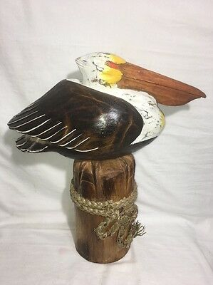 Brown Pelican On Piling  Painted Hand Carved Wood Tropical Sculpture Bird Decor