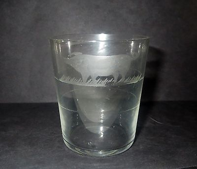 Antique 1800s Victorian CHILDS GLASS CUP Goblet - Engraved CRYSTAL PIG
