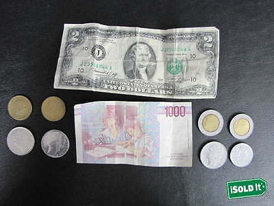 Us & World Coin & Currency Lot Federal Reserve Note + 9 Foreign Coin & Note Lot