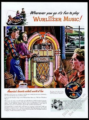 1946 Wurlitzer 1015 bubbler jukebox & fisherman vacation couple vintage print ad