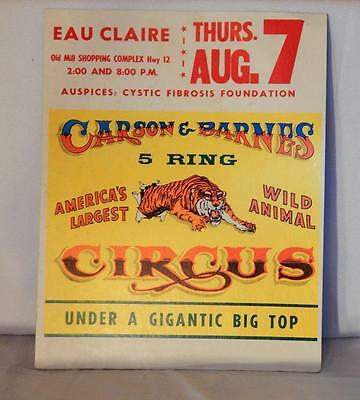 Carson & Barnes Wild Animal Circus Poster cardboard Eau Claire Wisconsin Tiger