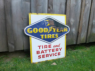 A-M Goodyear Tires Tire & Battery Service Embossed Advertising Sign 1950s Metal