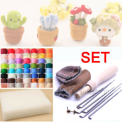 20 Colour Wool Needles Felt Tool Set + Needle Felting Mat Starter Craft Kits DIY