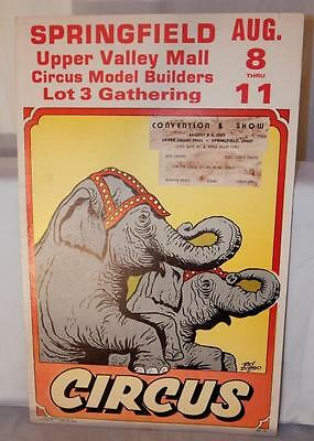 "Ray Dirgo Circus Convention Poster Elephants 1985 22x14"" Springfield Modelers 85"