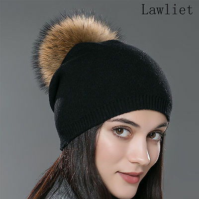Black Womens Cashmere Wool Knitted Real Fur Pom Pom Ball Crochet Beanie Hat A392