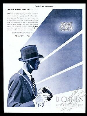 1933 Dobbs man's hat blue fedora illustrated vintage print ad
