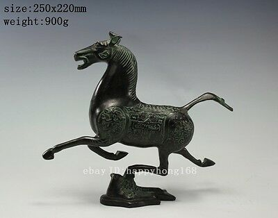China Old Decorated Handwork carved brass horse and swallow statue antique