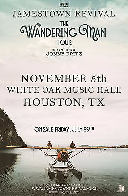 "Jamestown Revival / Jonny Fritz ""wandering Man Tour"" 2016 Houston Concert Poster"
