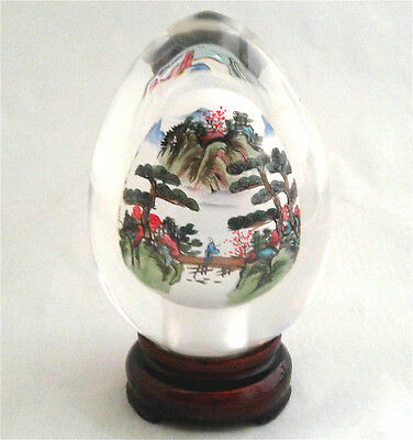 Crystal Clear Natural Sphere Egg w Stand Box Chinese Crane Art Handicraft CEB04