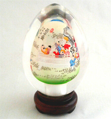 Natural Crystal Clear Sphere Egg w Stand Box Chinese Crane Art Handicraft CEB03