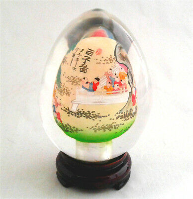 Vintage Chinese Asian Handicraft Natural Clear Crystal Glass Egg w Stand CEB02