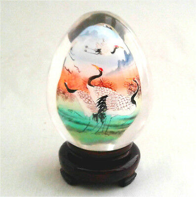 Vintage Chinese Asian Handicraft Natural Clear Crystal Glass Egg w Stand CES04
