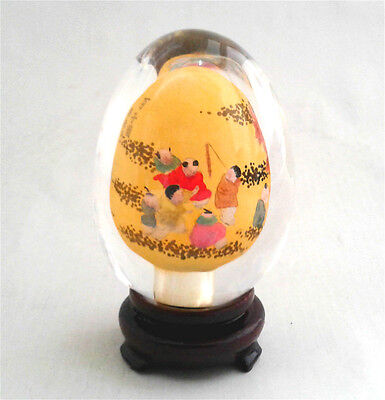 Vintage Chinese Asian Handicraft Natural Clear Crystal Glass Egg w Stand CES02