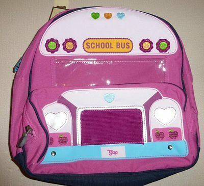New NWT Baby Gap Pink Bus Backpack Preschool size CUTE!
