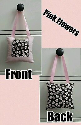 Girls Pink Flowers Print Hanging Tooth Fairy Pillow Stocking Stuffer Gift