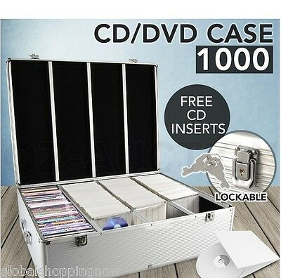 1000 Discs CD DVD Bluray Storage Case Box Lock SL Holds Folder Aluminium NEW