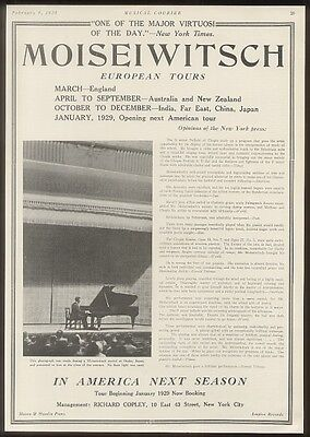 1928 Benno Moiseiwitsch concert photo trade booking ad