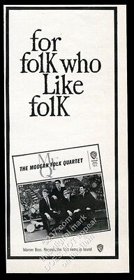 1963 MFQ Modern Folk Quartet photo Warner Bros Records vintage print ad