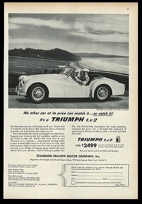 1955 Triumph TR2 TR-2 T. R. 2 car coast photo print ad