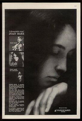 1963 Joan Baez photo 3 album Vanguard Records vintage print ad