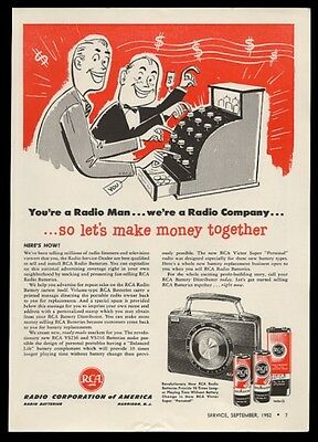1952 RCA A and B radio battery batteries vintage trade print ad
