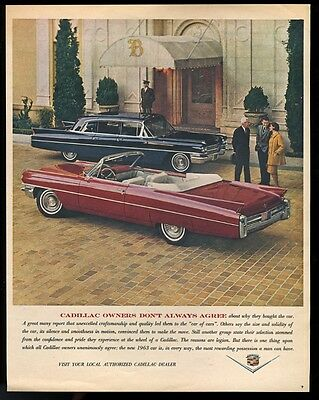 1963 Cadillac Fleetwood 75 limousine red convertible car photo vintage print ad