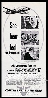 1958 Continental Airlines Viscount II plane illustrated vintage print ad