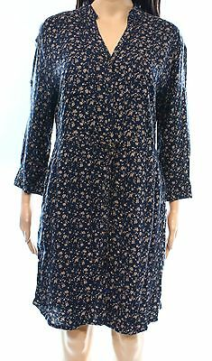 Angie NEW Blue Women's Size Large L Drawstring Floral Shirt Dress #359 DEAL