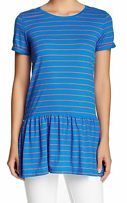 ABOUND NEW Blue Red Women's Size XS Striped Gathered Ruffle Knit Top #355 DEAL