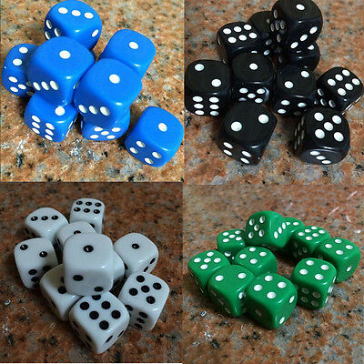 10Pcs Bar Pub Party 16mm Six Sided Spot D6 Playing Games Dices Set Opaque Cube U
