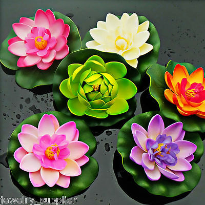 Artificial White Water lily Floating Flower Lotus Home Yard Pond Fish Tank Decor