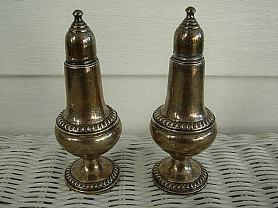 Vintage Empire Weighted Sterling Silver Salt Pepper Shakers #246 w/Glass Liners