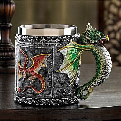 Personalized Double Wall Stainless Steel Drinking Mug 3D Flying Dragon Cup Decor
