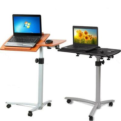 Laptop Rolling Desk Adjustable Tilt Stand Portable Caster Cart Bed Side Table