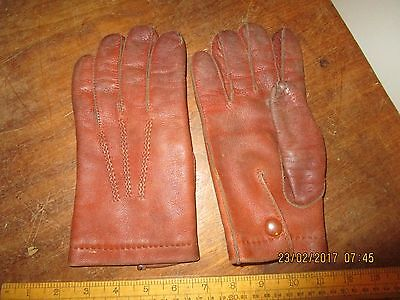 Vintage Brown Leather gloves / Military / Officers type Brown Leather gloves 8.5